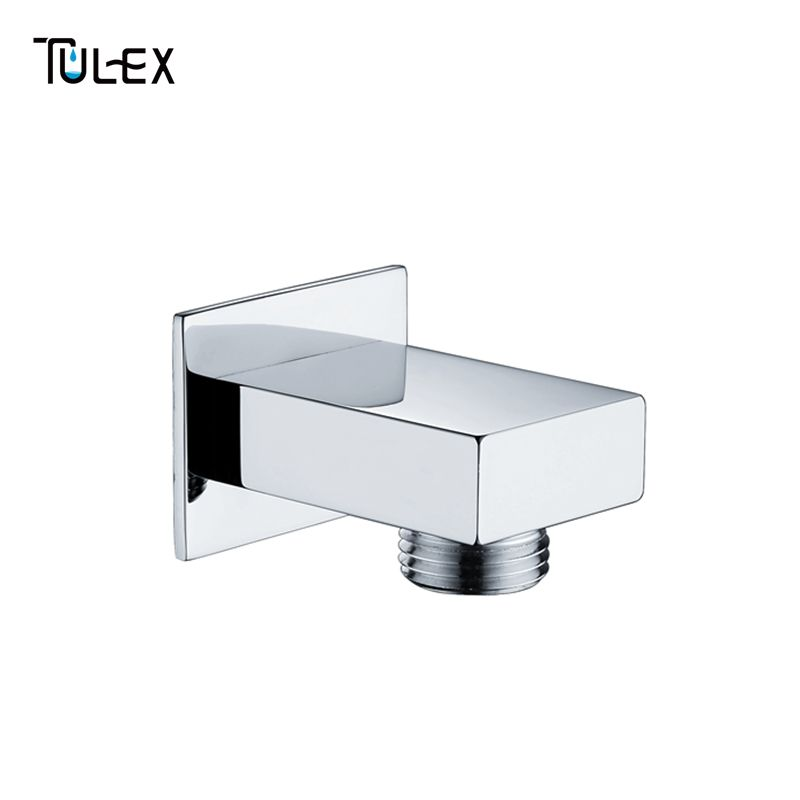 Shower Accessories Square Chrome Bathroom Wall Connector Bracket With Head Holder