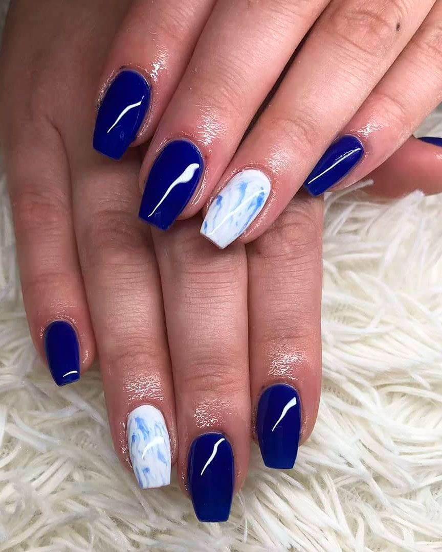 Navy Blue With Images Blue Nails Silver Nails Gel Nails