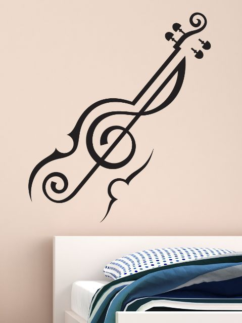 Abstract Violin Music Wall Decal by wallmantra. Online store in India for Spiritual, Funny & Kids stickers, wall tattoos, wall clocks & graphics