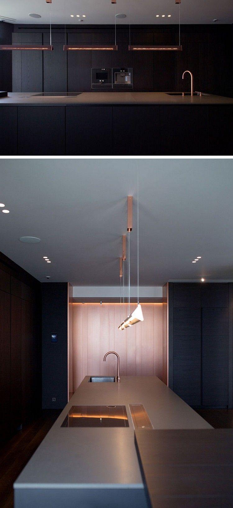 grifflose schwarze küche kupfer akzente pendelleuchten #innendesign ...