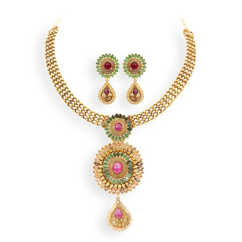 Emerald Gorgeous Emerald and Ruby Bridal Necklace