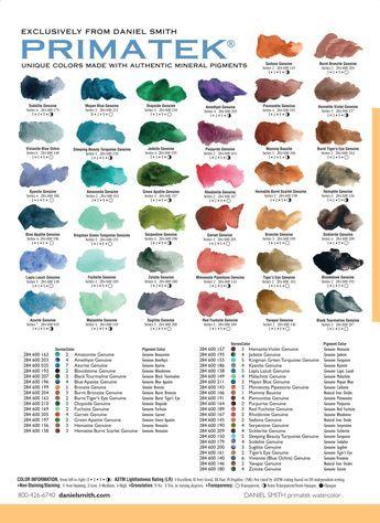 Daniel Smith Primatek Watercolor Chart Rare Earthmineral Colors