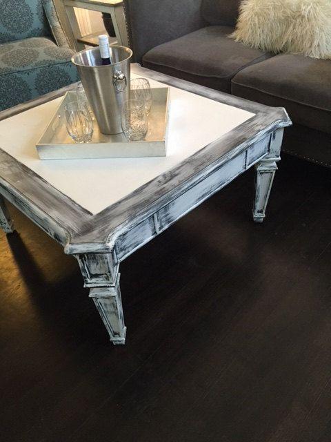 Distressed White Grey Black Coffee Table Farm House Coffee Table