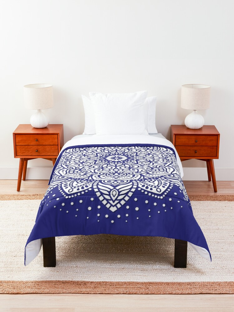 White sun mandala. Blue and white decorative pattern. Boho style. Design #41020. Comforter