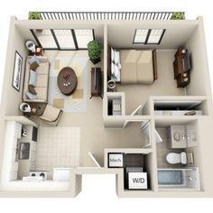 3d floor plan image 2 for the 1 bedroom studio floor plan of