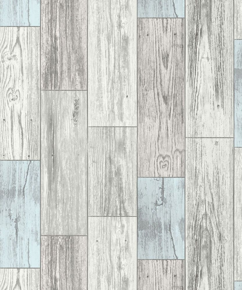 White Wood Effect Wallpaper Part - 25: Wood Effect Wallpaper Wooden Plank Panel Rustic Faux Realistic Wood Blue
