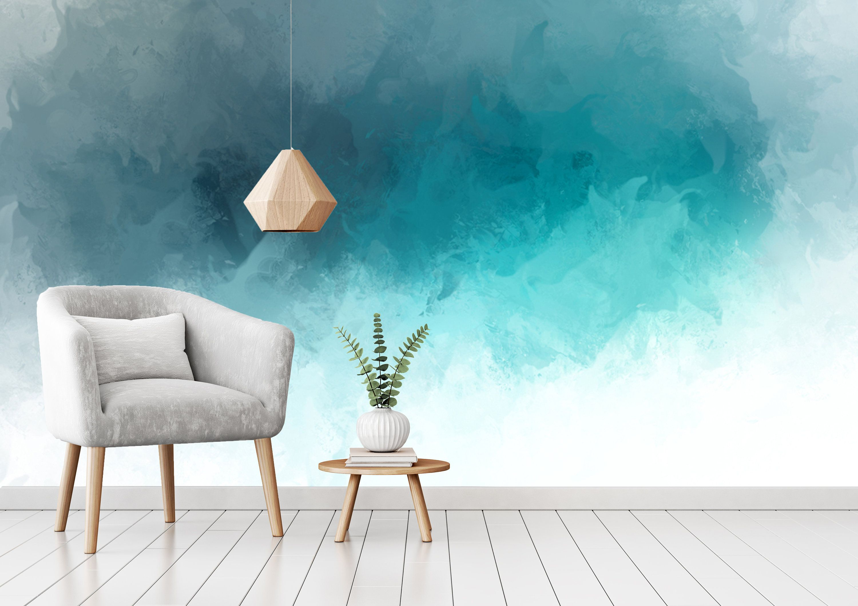 Atmospheric Blue Wave Abstract Wallpaper Self Adhesive