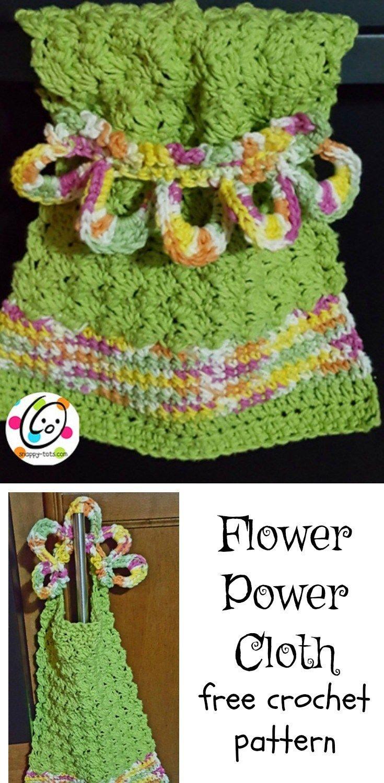 Free Pattern: Flower Power Cloth | Pattern flower, Flower power and ...
