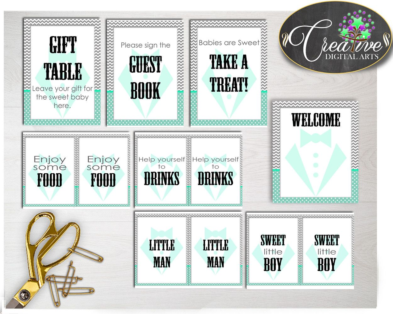 Our new product: Baby shower littl.... Check it out here: http://snoopy-online.myshopify.com/products/baby-shower-little-man-table-signs-decoration-gentleman-printable-in-mint-green-gray-color-theme-digital-files-instant-download-lm001