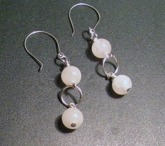 Pink Quartz and Silver Circles Earrings by TriannasTreasures