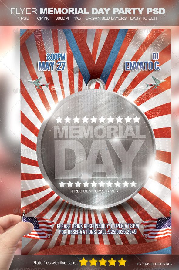 Flyer Memorial Day Party Psd | Font Arial, Print Templates And Fonts