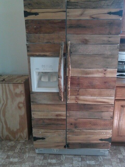 I Turned My Plain White Fridge Into A Wooden Fridge By Putting Pallet Wood On It With Liquid Nails I L Fridge Decor Wooden Pallets Affordable Kitchen Cabinets
