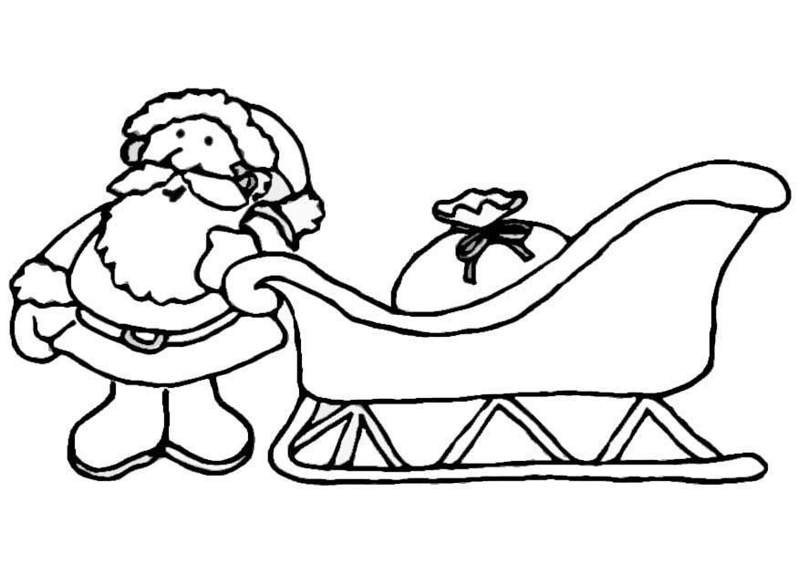 Ausmalbild Weihnachtsmann Schlitten Weihnachten Pinterest