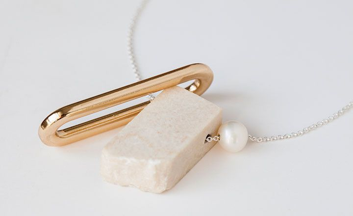 'LIL PEARL 'LIL MARBLE NECKLACE BY FAUX/REAL