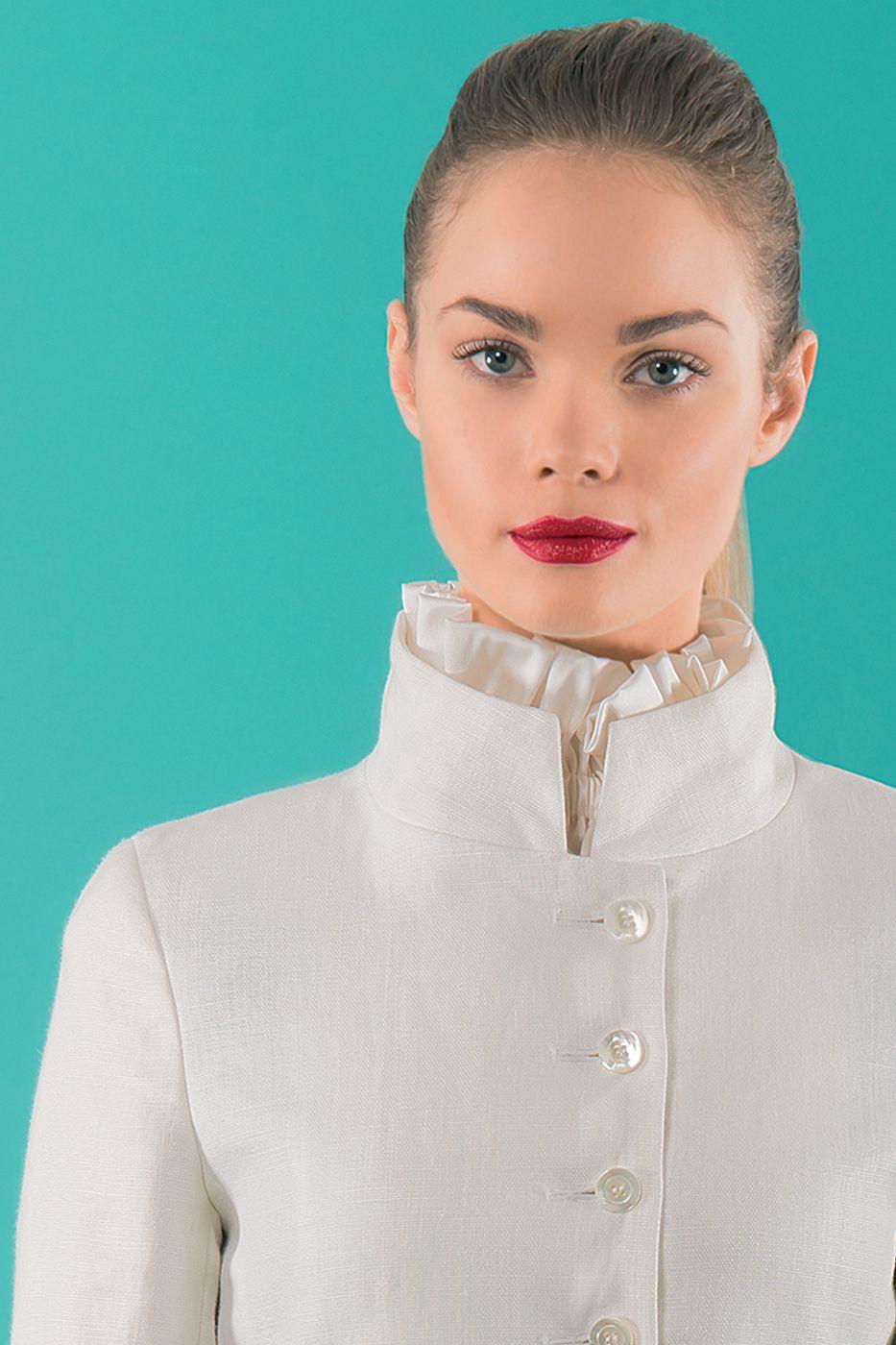 Detail of white linen jacket
