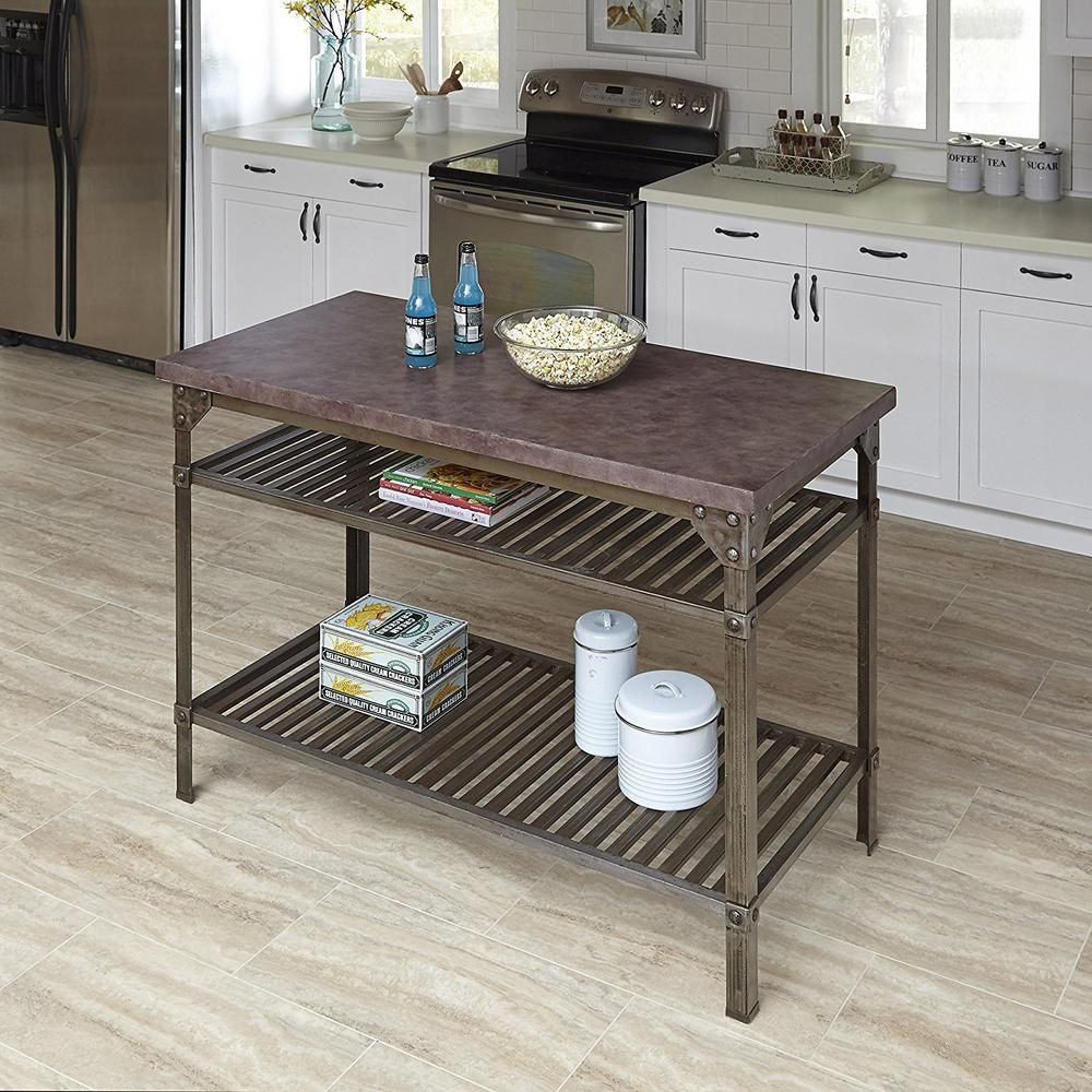 Urban Style Aged Rust Kitchen Utility Table with Concrete Top, Aged ...