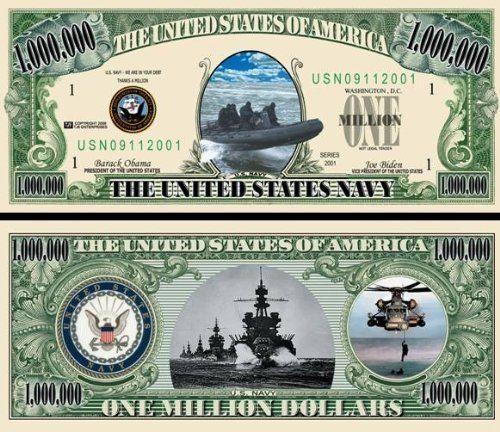 Us Navy Seals Commemorative Million Dollar Bill 5 Bills By Aac 2 50 Us Navy Seals Commemorative Million Us Navy Seals United States Navy Seals Navy Seals