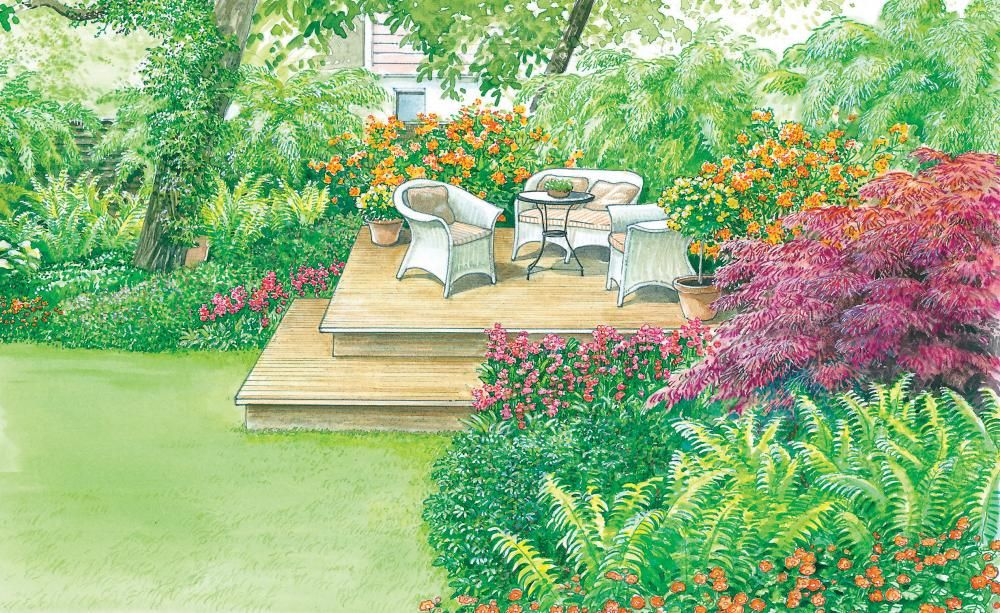 Sitzplatz unter Bäumen Holzdeck, Sitzplatz und Rücken - garten und landschaftsbau vorher nachher