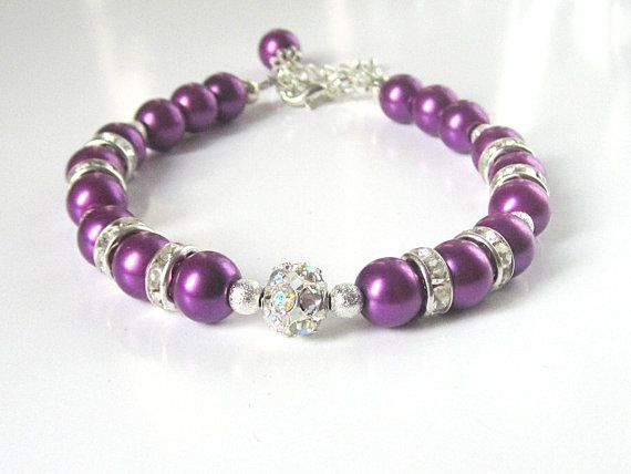 Plum Pearl and Crystal Bracelet Purple by UrbanDaisyBridal on Etsy