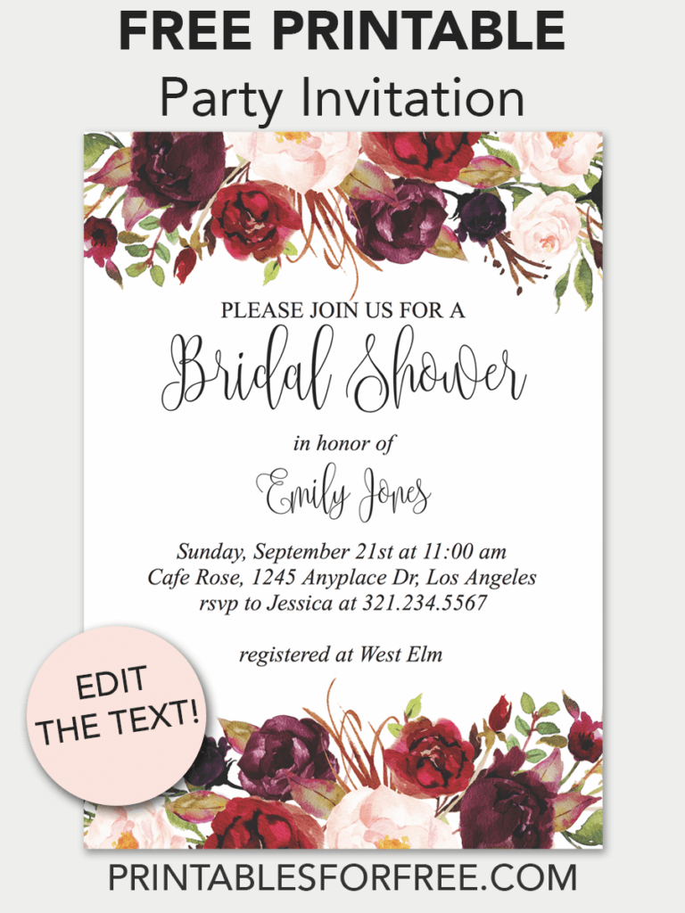 graphic regarding Free Printable Bridal Shower Invitations Templates titled Marsala Floral Printable Bridal Shower Invitation
