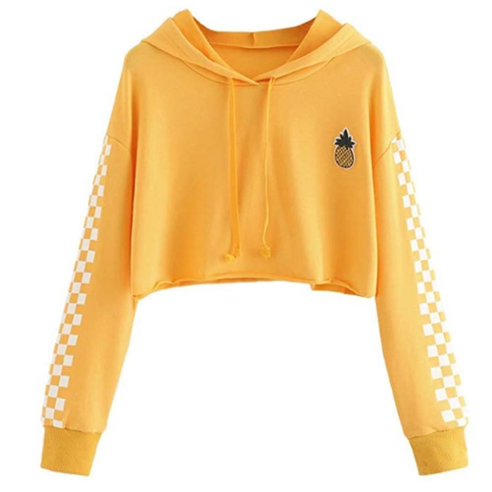 Womens Crop Tops Sweatshirt Pineapple Embroidery Gingham Plaid Hoodies Pullover Crop Top Sweatshirt Women Hoodies Sweatshirts Hoodies Womens [ 1000 x 1000 Pixel ]