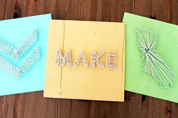DIY Wall Art Ideas for Teen Rooms - DIY Nail String Art - Cheap and ...