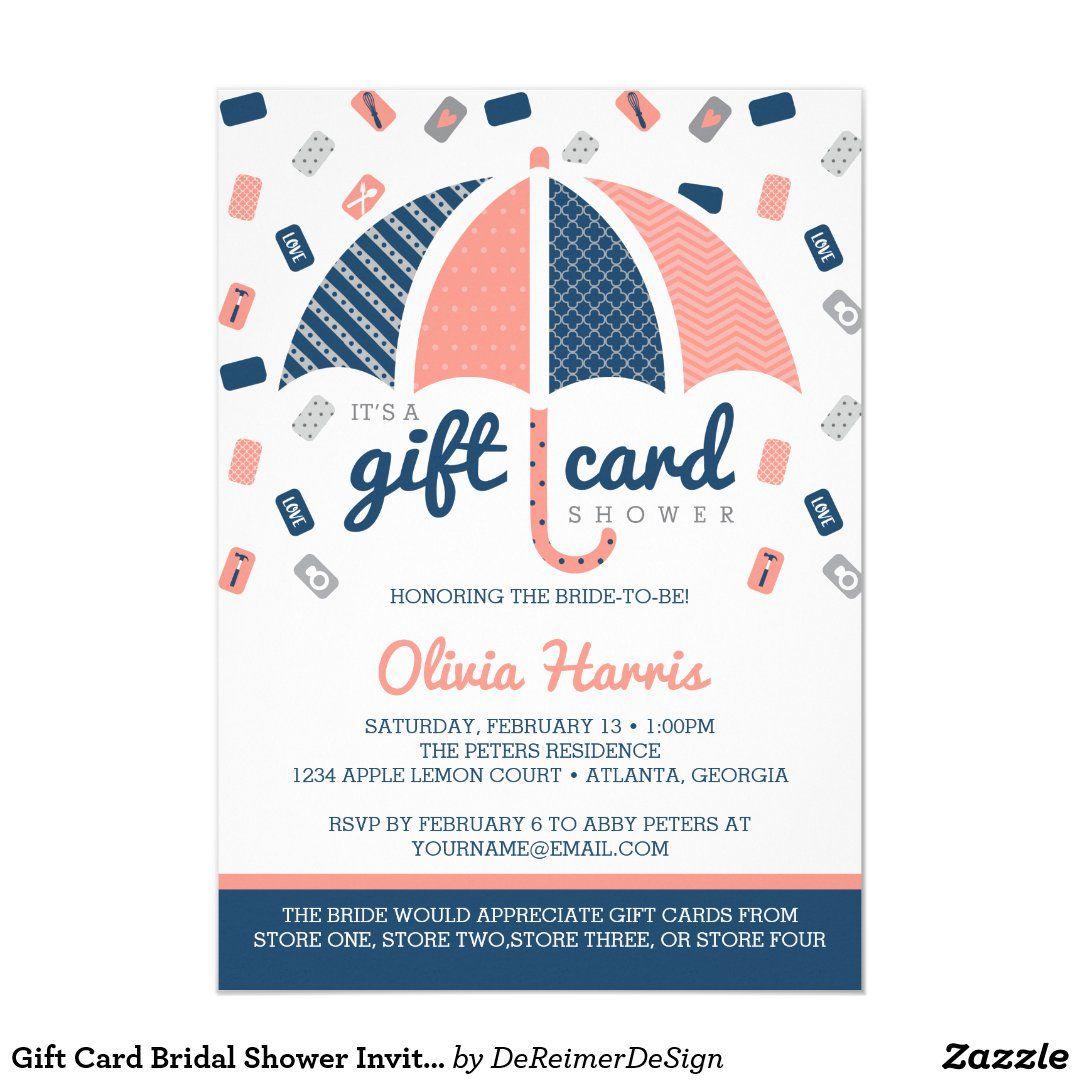 gift card bridal shower invitation navy coral  zazzle