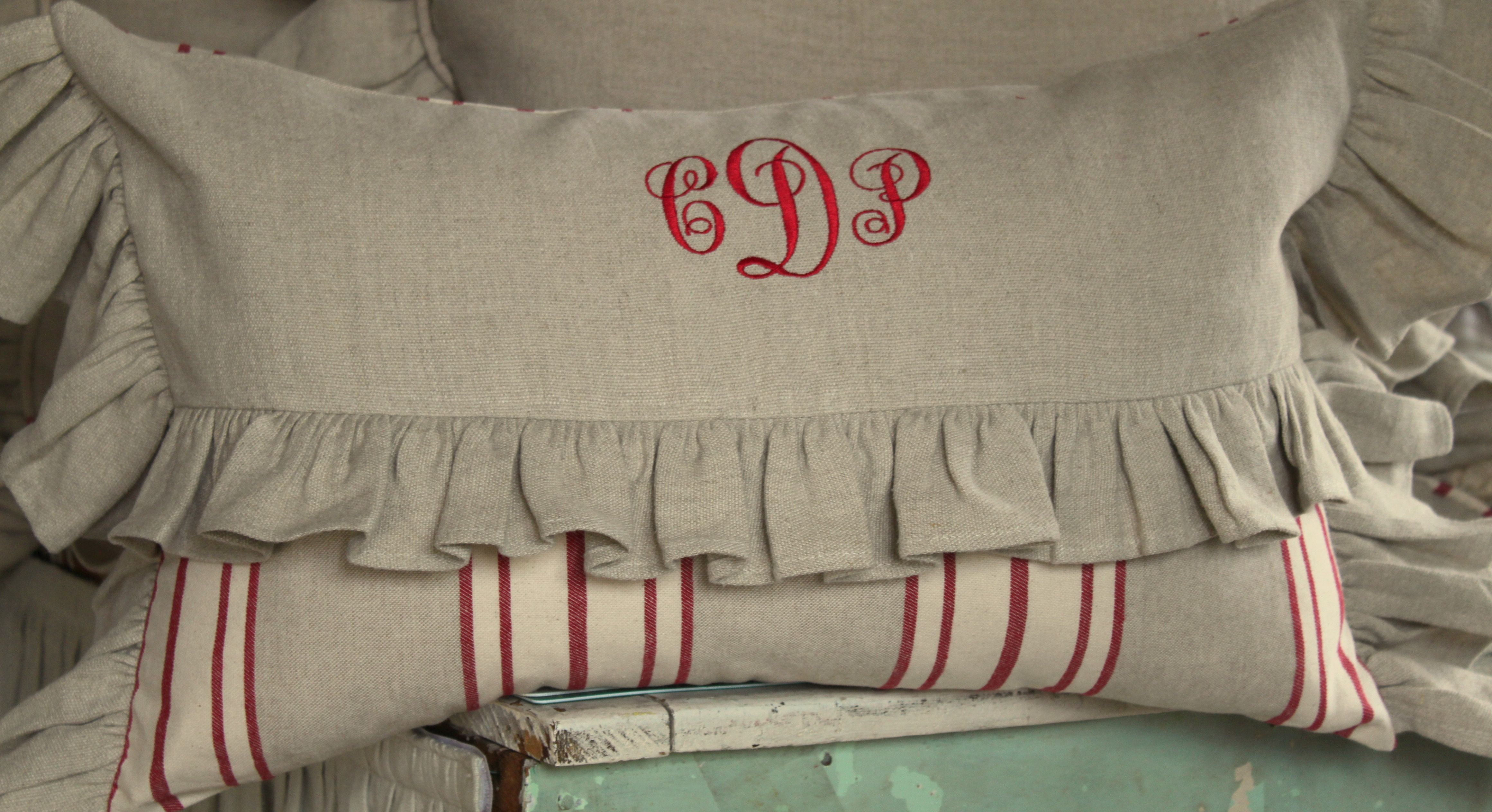 Three letter monogram, deep red on wheat linen (wwht).