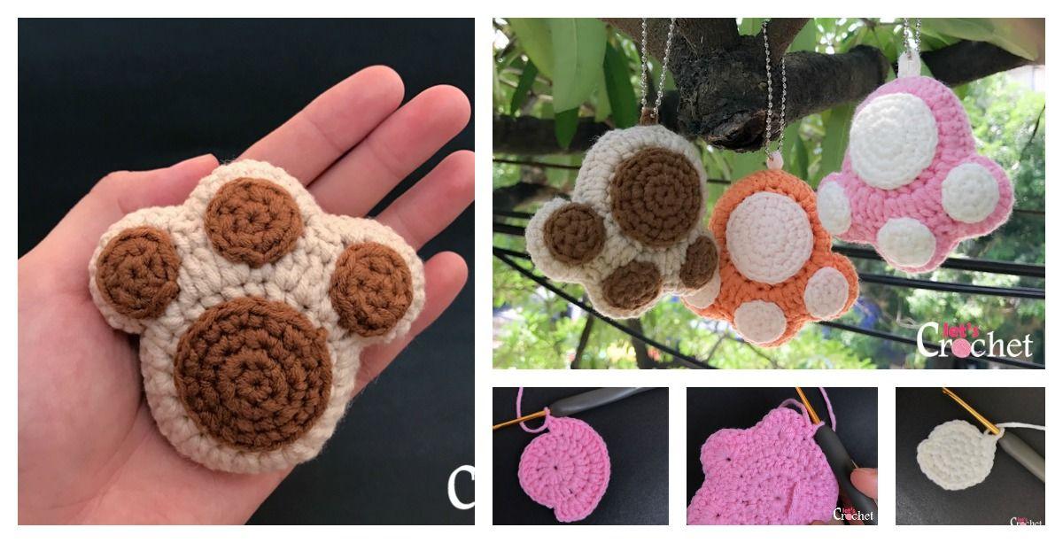 Crochet Paw Print Keychain Free Pattern | # 2Crochet ✰ Häkeln ...