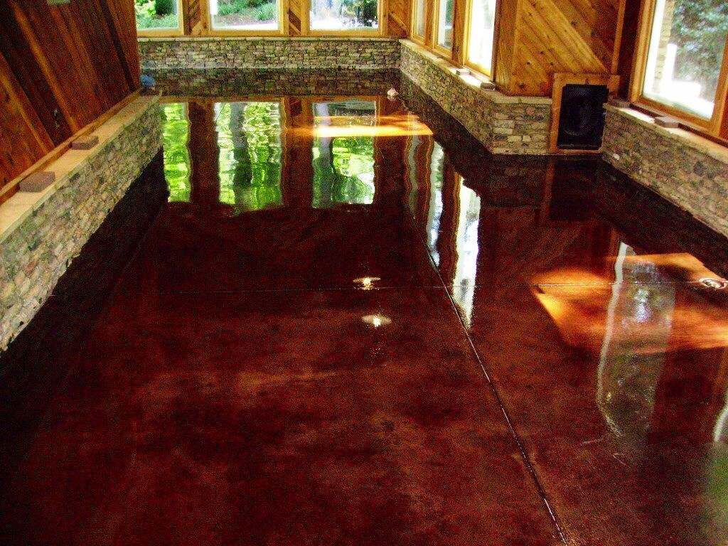 Earthtone eco stains with a clear epoxy finish metallic - Interior concrete floor stain colors ...