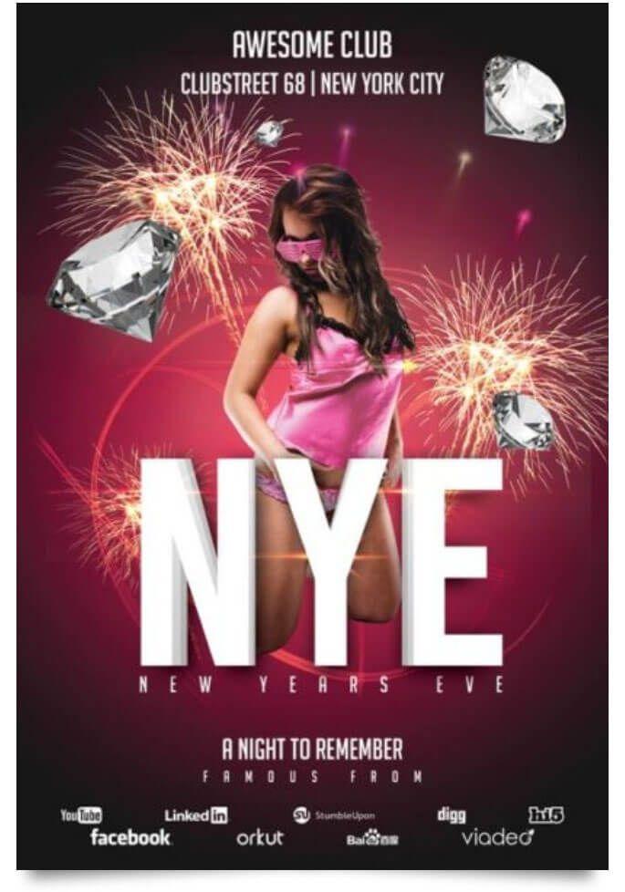 new year club party flyer Design Desk Pinterest Flyer template