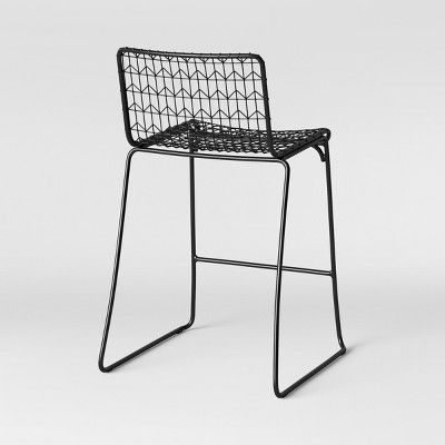 Astonishing Set Of 2 Oster Wire Counter Stool Black Project 62 Machost Co Dining Chair Design Ideas Machostcouk