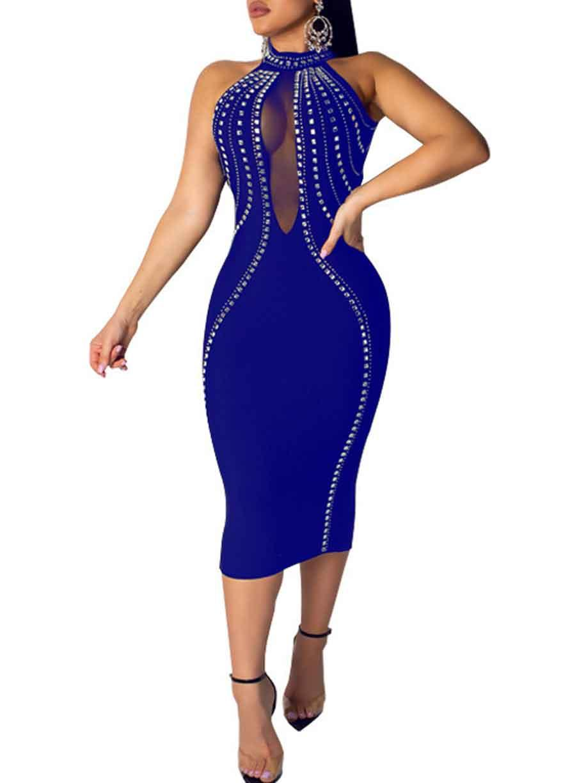 Sleeveless Backless Rhinestone Mesh Bodycon Dress RK in