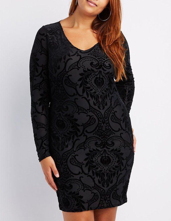 bf6fb89ace9c1 Charlotte Russe Plus Size Flocked Velvet Bodycon Dress