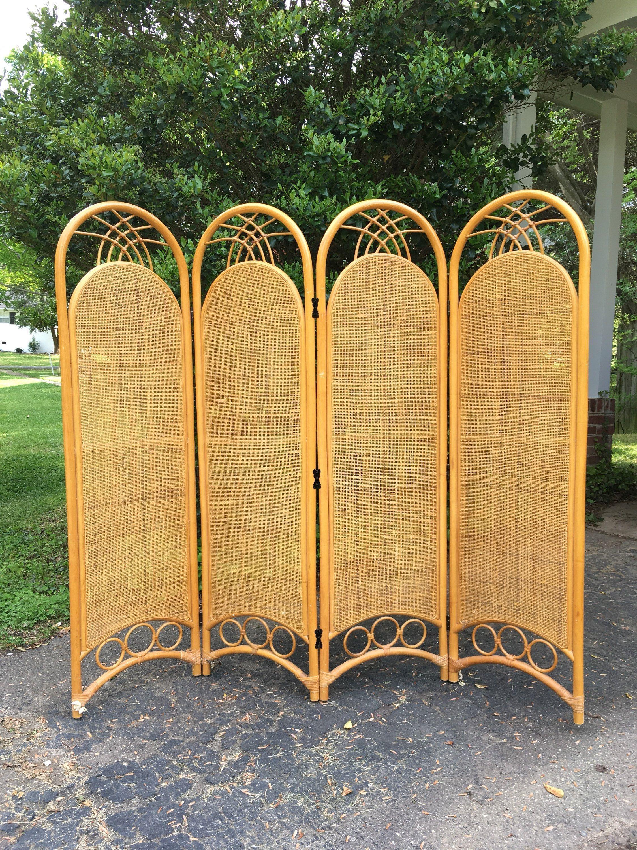 Vintage rattan bamboo room divider dressing screen bohemian home