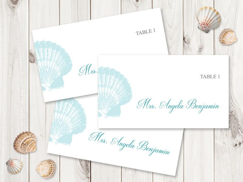 Beach Wedding Place Card Template  - place card template