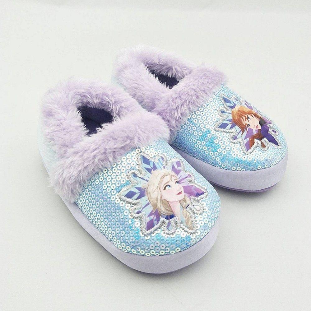 Frozen slippers girls toddler 5//6 blue Elsa Anna Disney slip on with heel strap