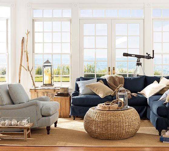 Carlisle Upholstered Armchair Pottery Barn Living Room Nautical Living Room Coastal Living Rooms