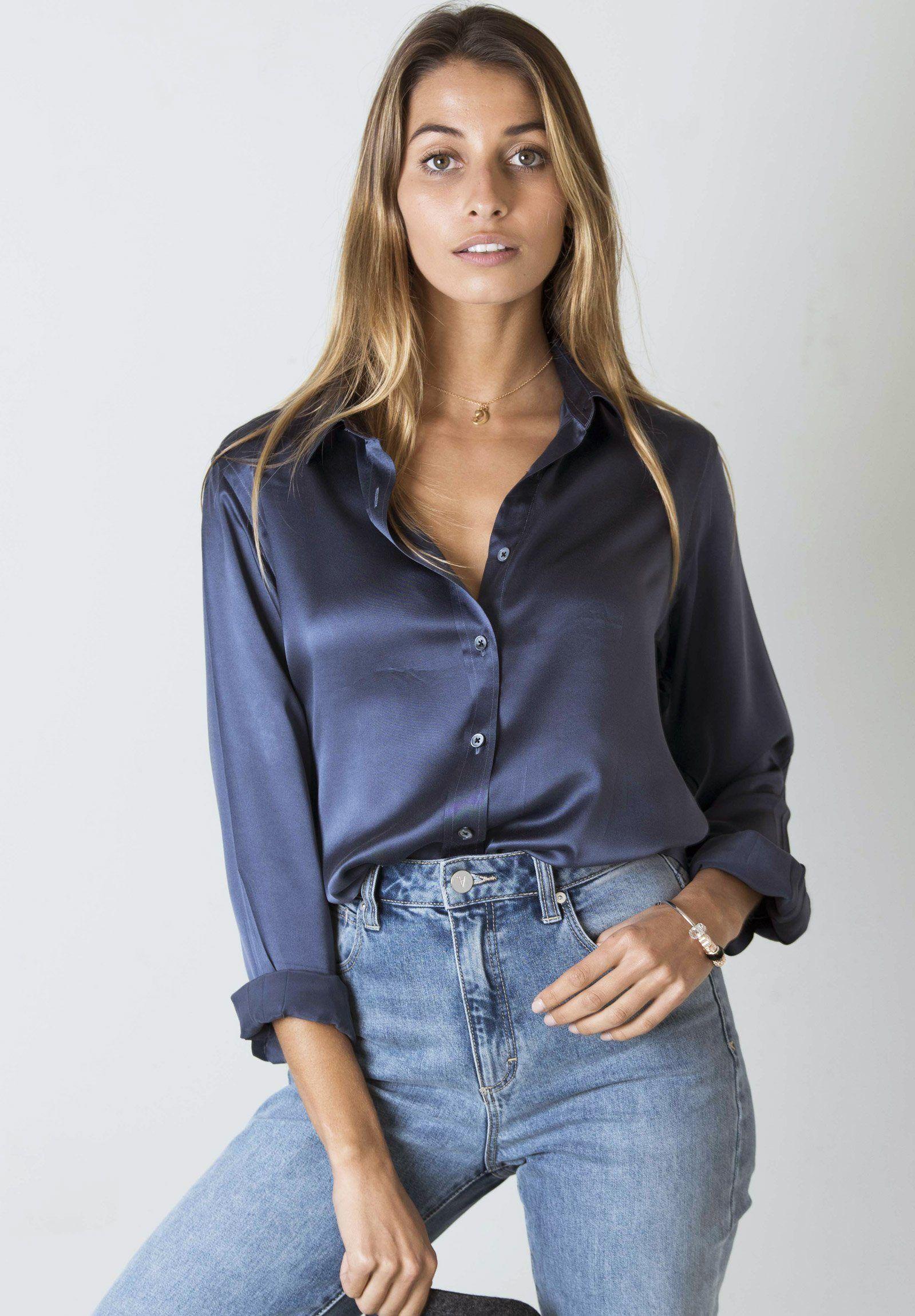 очень блуза из шелка под джинсы фото есть