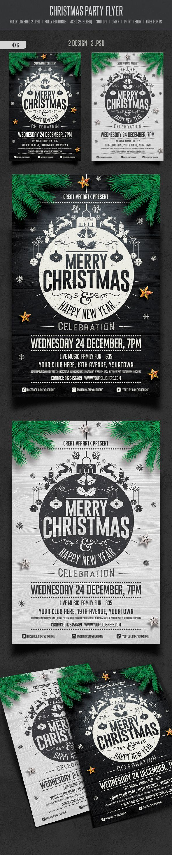 christmas party flyer on behance l a y o u t christmas party flyer on behance