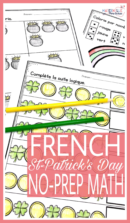 French Saint Patrick S Day No Prep Math Worksheets