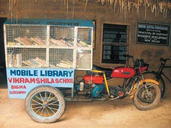 Biblioteca móvil- La escuela Vikramshila en Bigha, India