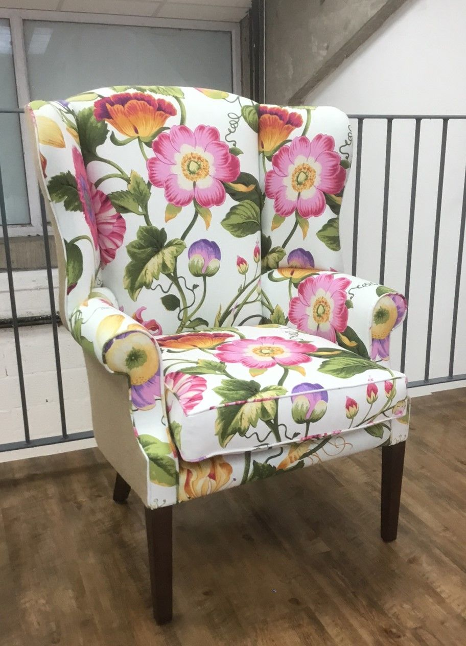 Wingback Armchair in botanical print and hessian