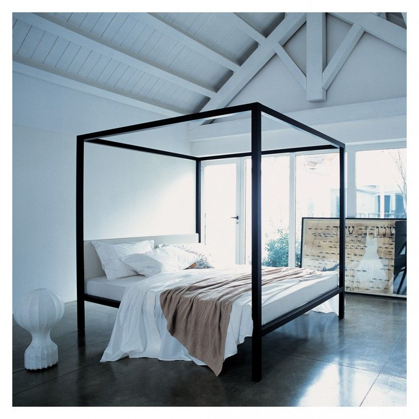 Milleunanotte Four Poster Bed Wenge Stained Oak Pelle Scozia Leather Super King Four Poster Bed Poster Bed Modern Bed