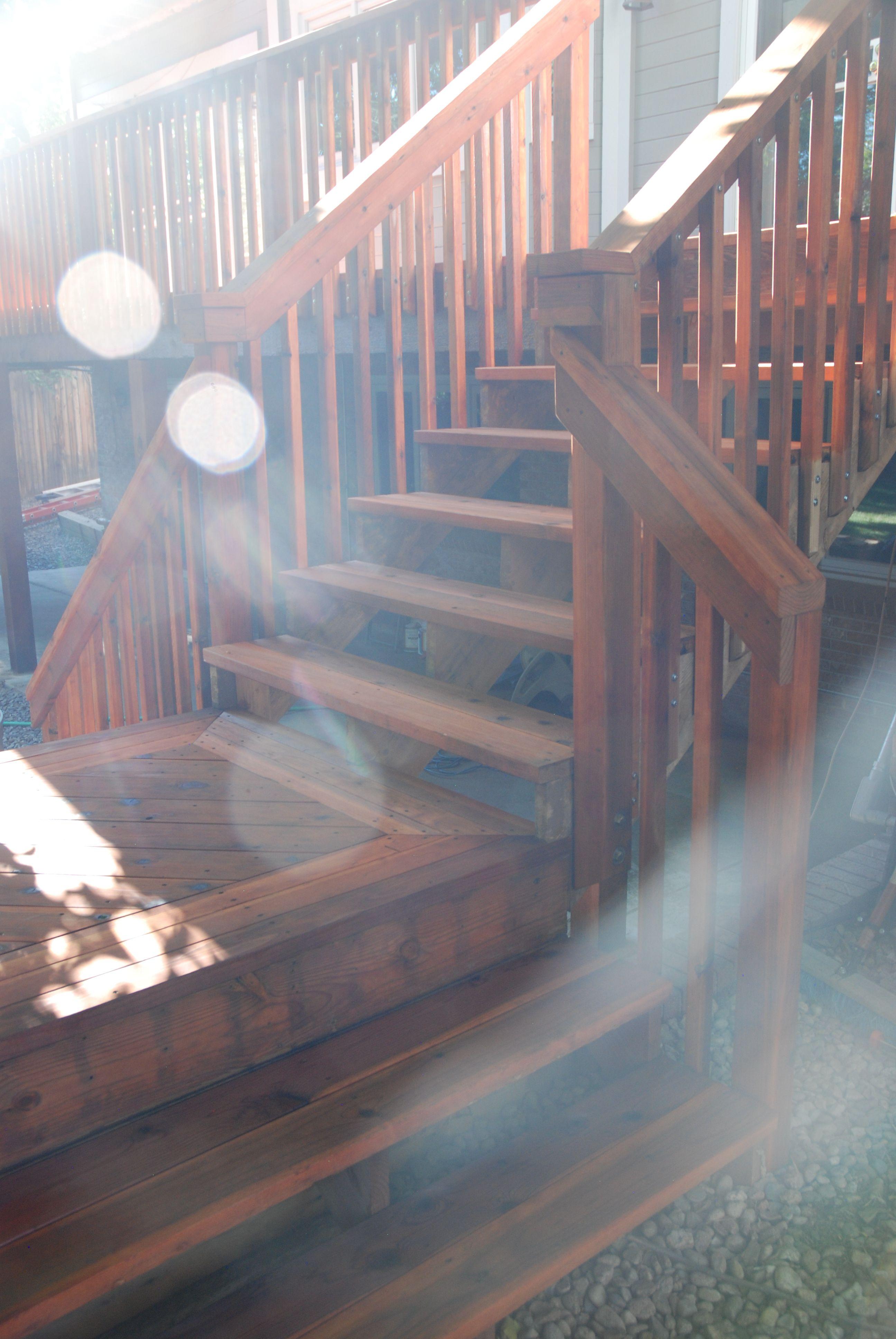 Best Split Stair Access Design With Custom Redwood Handrail 400 x 300