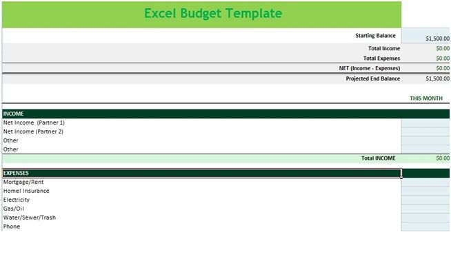 Income and Expense Budget Spreadsheet Template in MS Excel \u2013 Excel