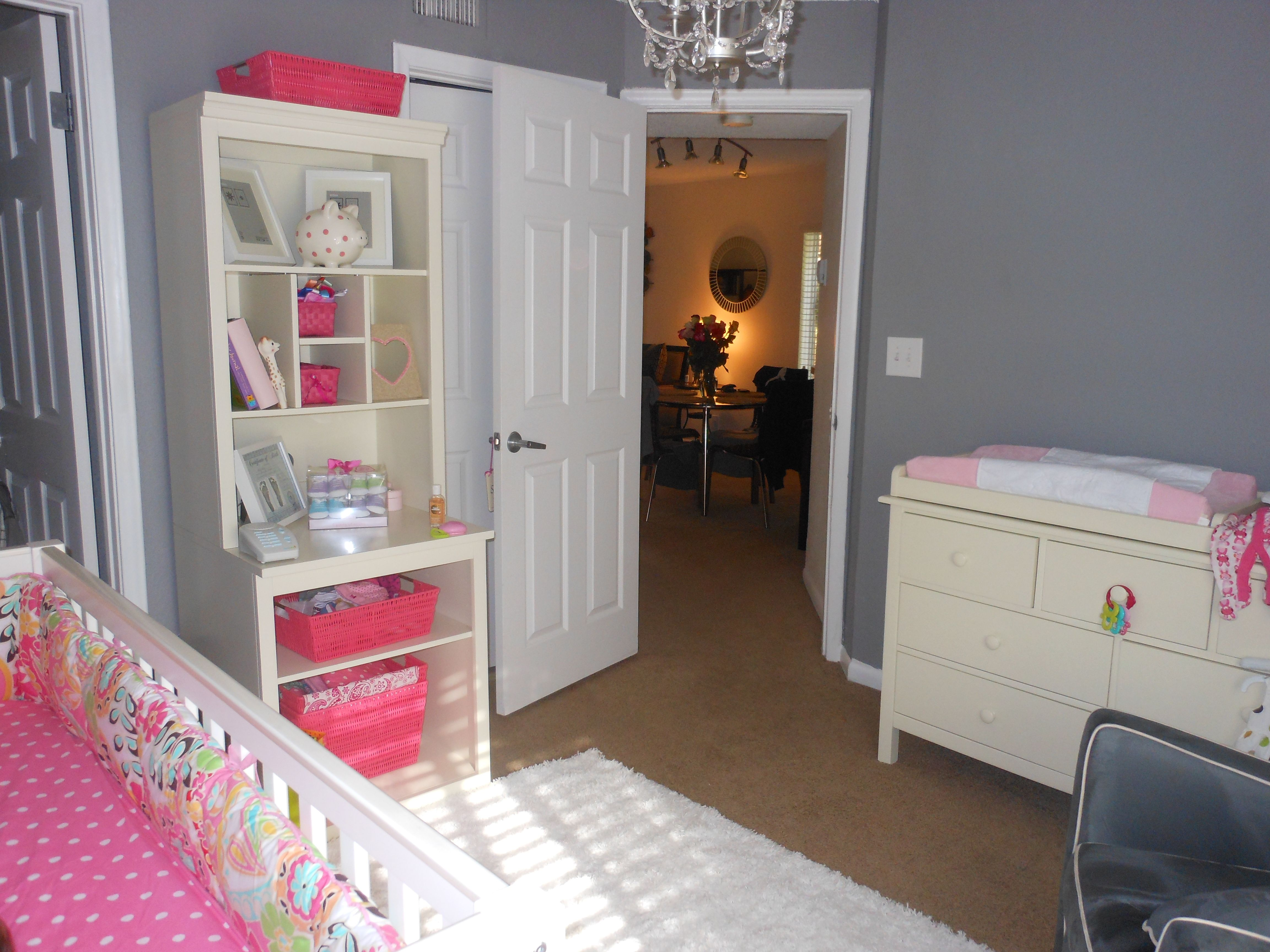 Grey walls bright colored girls nursery baby girl room