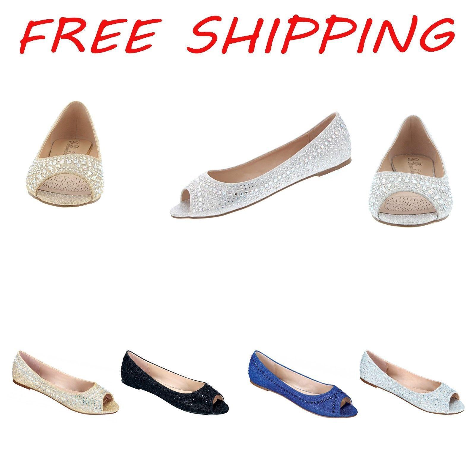 Women Hot Fashion Open Toe Rhinstone Flat Comfort Ballerina Embellished Shoe
