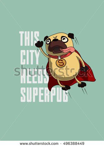 Funny cartoon character pug design for tee. Pug flying in the sky. Pug puppy