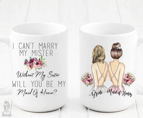 Wedding party gifts - Gifts for wedding party, Bridesmaid mug, Maid of honour gifts, Maid of honor, Wedding gifts for guests, Diy wedding gifts - This practical maid of honor mug is the perfect gift for your best friend who will stand up with you while you say your vows!